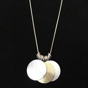 Silver and Gold tone medallion Necklace